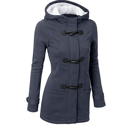 Lowest Prices! jin&Co Womens Hooded Trench Coat Warm Wool Jacket Zip Horn Buckle Hoodies Windbreak...