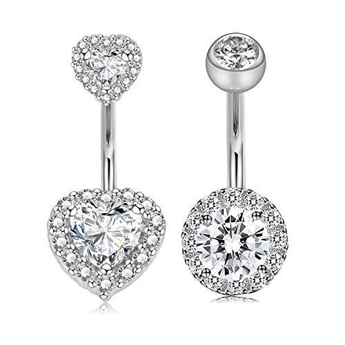 Incaton 1.6mm Cuore Anelli per Ombelico Acciaio Chirurgico Argento Diamante Cristallo Anelli Ombelico Piercing Gioielli