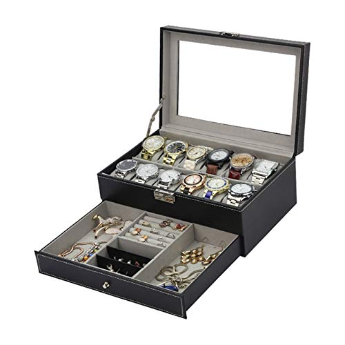 Storage Drawer for Watches and Jewelry Watch Box Mens 12 Slots PU Leather Watch Case Organizer Jewelry Display Drawer Glass Top with Lock Tray Holder Watch Box with Jewelry Drawer for Storage and Disp