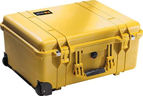 PELI 1560 Valigia antiurto grande per apparecchiature fragili con ruote e manico telescopico, IP67 Impermeabile e a prova di polvere, Capacità di 44L, Prodotto in Germania, Senza schiuma, Color giallo