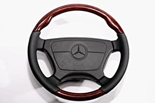 Walnut Wooden Steering Wheel Black Leather Normal type for Mercedes Benz R129 SL Class W210 W140 W124 W463