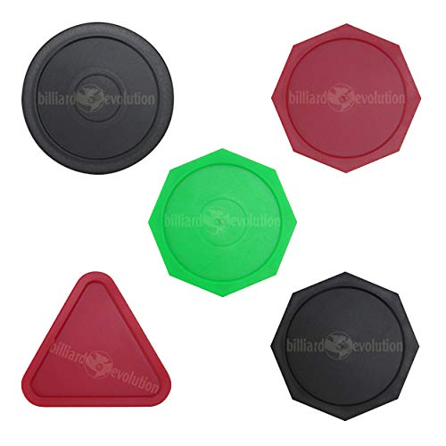 Great Deal! Billiard Evolution 5 Air Hockey Pucks: 1 Round Black, 3 Octagons: 1 Black, 1 Red, 1 Gree...