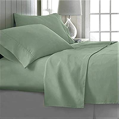 Queen Bed Sheets | Microfiber Bed Sheet Set | Soft, Wrinkle Resistant & Fade Stain Resistant Bedding | Set of 4 Pieces – 1 Flat Sheet, 1 Deep Pocket Fitted Sheet, 2 Pillowcases - Queen, Light Green