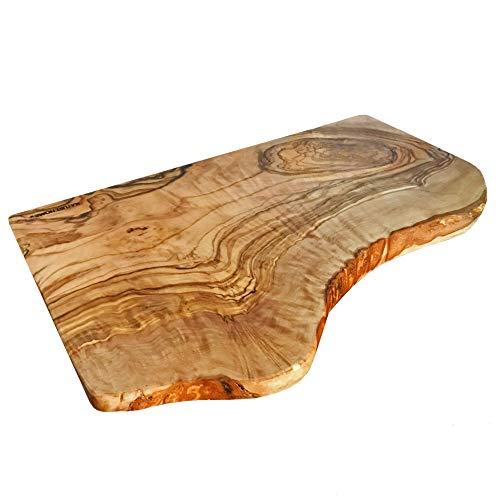 NATUREHOME Tabla de cortar con borde natural de madera de olivo, aprox. 40 x 22 x 2 cm, cada pieza es única, decoración o tabla de cortar de madera rusical, ecológica y sostenible