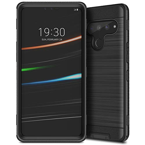 CinoCase Compatible with LG V50 Case Heavy Duty Shockproof Dual Layer Hybrid Hard PC + Protective TPU Bumper Cover with Brushed Metal Texture Back Case for LG V50 ThinQ Black