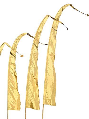 DEKOVALENZ Banderas de Bali Tela SANUR con Punta en Forma de Corazón, Longitudes, Longitud:6 Meter, Color:Dorado