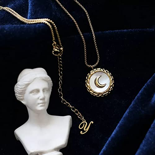 N/A Colgante de Collar de Mujer Collar de Monedas pequeñas Vintage DelicadoAcero Inoxidable Cadena de Serpiente Madre de Perla Collar con Colgante de Luna