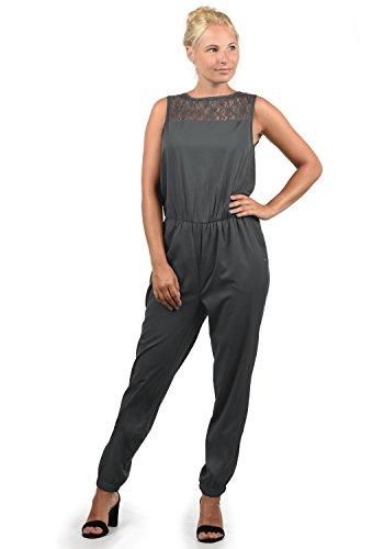 BlendShe Amor Damen Jumpsuit Overall Einteiler Mit Spitze Und Rundhals-Ausschnitt, Größe:XXL, Farbe:Ebony Grey (75111)