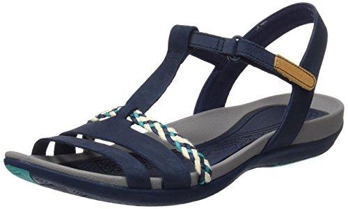 Clarks Damen Tealite Grace T-Spangen Sandalen, Blau (Navy), 39 EU