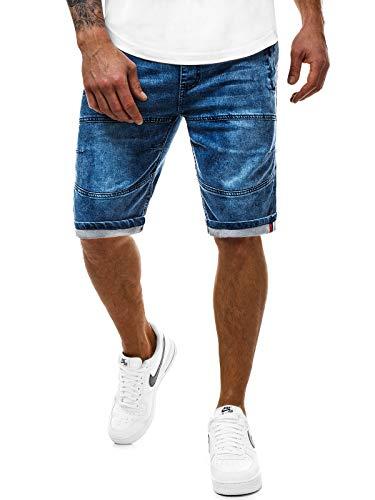 OZONEE Herren Jeans Shorts Bermuda Hose Kurz Herrenjeans Jeanshose Stretch Regular Fit Bermudashorts Freizeitshorts Freizeithose Kneelang Straight Sportjeans RF/HY338 BLAU 2XL