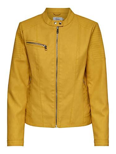 ONLY Damen Kunstleder-Jacke OnlMelanie Faux Leather Jacket, Farbe:Gelb, Größe:42