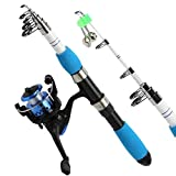 XJJZS Kits completos de caña de Pescar con caña de Pescar telescópica y Carrete Giratorio, anzuelos, Juego de cañas de Viaje de Agua Dulce y Agua Salada (Color : Rod and Reel, Size : 1.8m Full Set)