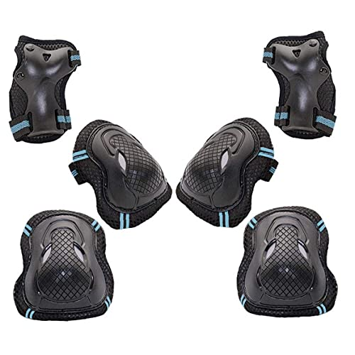 Tuimiyisou Knee Pads Set Kids Sports Protector 6 In 1 Knee Elbow Wrist Pads for Rollerblading Skateboard Cycling Skating Bike Scooter Riding Blue Black L