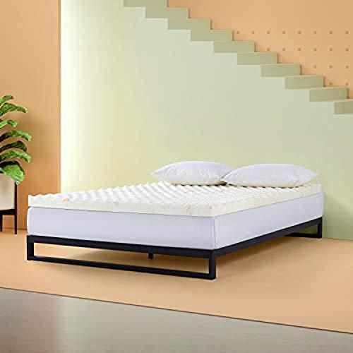 ZINUS 3 Inch Swirl Copper Cooling Memory Foam Mattress Topper/Antimicrobial & Odor Resistant/Airflow Design, Full,ZU-TMTCCS-03F,White and Orange