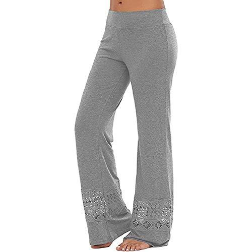 KYZRUIER Nuevas mujeres de encaje hueco pierna ancha pantalones casuales deportes color sólido yoga pantalones de encaje yoga pantalones pantalones casuales