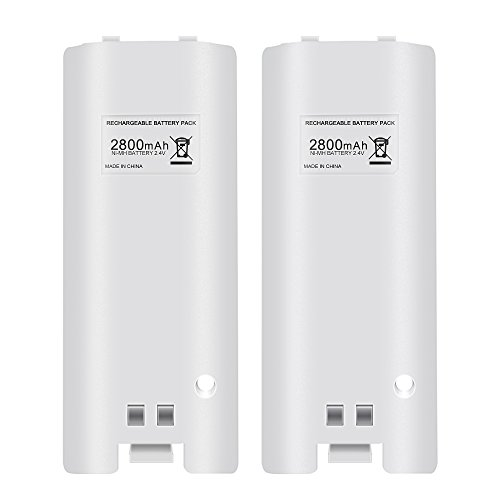 Hokyzam FM24 Rechargeable Battery Pack for Wii, 2pcs 2800mAh High Capacity Rechargeable Batteries Pack for Nintend Wii Remote Controller - White