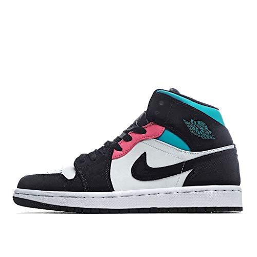 Nike Uomini Air Jordan 1 Mid SE South Beach - 852542 116 - colore bianco, Hot punch, nero, Bianco (bianco), 44 EU