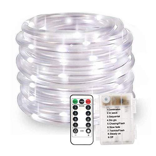 100LED Lichterschlauch Seil Lichter,KINGCOO Wasserdichte 33ft/10M 8 Modi Batteriebetriebene Streifen Fee Lichterketten für Innen/Außen Garten Weihnachten Dekolicht(Weiß)