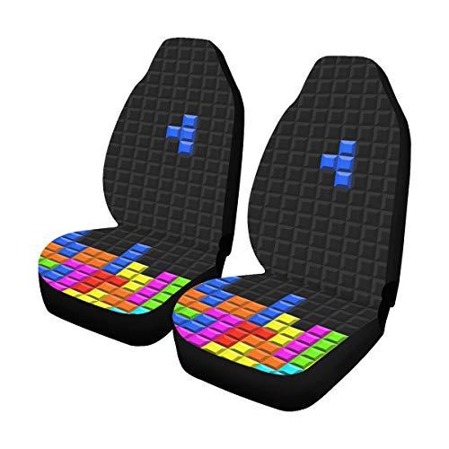 Van Auto Abdeckung Farbe Spiel Dreidimensionale Block Russische Tetris Universal Fit Auto Autositzbezüge Schutz Für Auto LKW Geländewagen Fahrzeug Frauen Dame (2 Vorne) Universal Sitzbezug