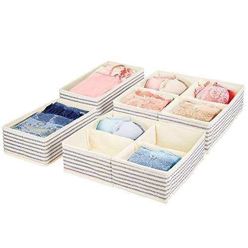 mDesign Juego de 2 cajas organizadoras en 2 tamaños – Cestas de tela con estampado a rayas para armario, cajones y más – Prácticos organizadores de cajones en fibra sintética – crudo/azul cobalto