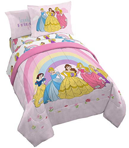 Disney Princess Rainbow 5 Piece Twin Bed Set - Includes Comforter & Sheet Set - Bedding Features Aurora, Belle, & Cinderella - Super Soft Fade Resistant Microfiber (Official Disney Product)