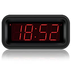 KWANWA Digital Desk Clock Small Battery Operated Clock for Media Center with 1.2'' LED Number Display