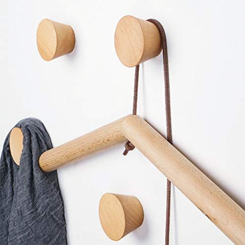 HomeDo Adhesive Wall Hooks Rack, Kleiderhaken aus Holz, Wandmontage, dekorative Haken aus Holz, Vintage Single Organizer Hut Haken Hut Kleiderbügel Handtuchhalter(Buche-Kegel-4er Set)