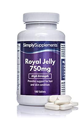 Royal Jelly 750mg by SimplySupplements|For Healthy Looking Skin|180 Tablets from Simply Supplements