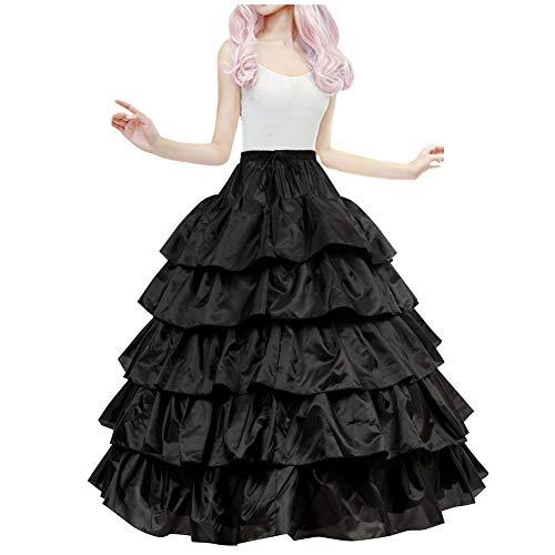LONGBLE Reifrock für Brautkleid Unterrock Petticoat Krinoline für Hochzeitskleider Ballkleider Barock Kleid Unterröcke - 4 Ringe 5 Rüschen, schwarz
