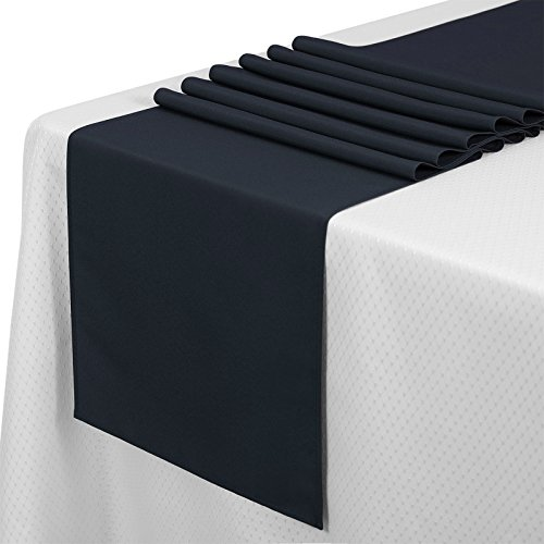 VEEYOO 10 Pieces 14x108 inch Polyester Table Runner for Restaurant Kitchen Dining Wedding Party Banquet Events, Navy Blue