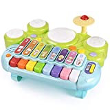 Zengqhui Golpeando golpeando los Juguetes Martillo xilófono palpitación del Banco Piano for niños pequeños bebés Juguetes Set Educativo Forma complementaria (Color : Multi-Colored, Size : 39x27x11cm)