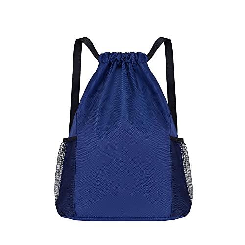 FALE Bolsa de deporte con cordón, impermeable, con cremallera, bolsillo interior exterior, bolsillos de malla, bolsa de gimnasio, ajustable, cordón, ligera, para hombre y mujer