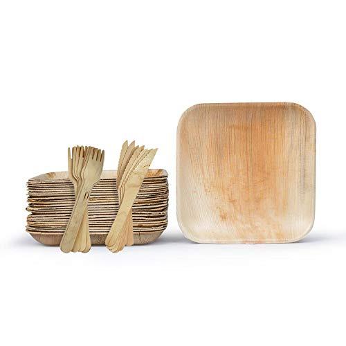 Party con ciotole usa e getta   Ciotole usa e getta per feste   Piatti di bambù   Piatto di carta per feste e barbecue, Piatto + Posate., 7' Square