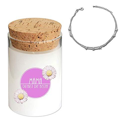 tumundo Fashion Candle Schmuck-Kerze Muttertag Mama Geschenkidee Kerze im Glas mit Schmuck Duftkerze, Schmuckstück:Fußkettchen