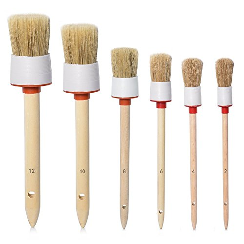 URlighting Detail Brush Set - Boar Hair Brush Tool (Set of 6), Car Auto Vehicle Cleaning & Paint Brush with Wood Handle for Cleaning Wheels, Dashboard, Interior, Exterior, Leather, Air Vents, Emblems