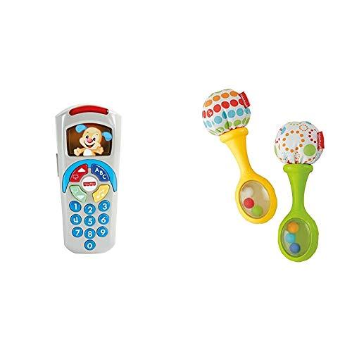 Fisher-Price - Mando a Distancia Perrito, Juguete Electrónico Bebé +6 Meses (Mattel DLD35) + Maracas Musicales, Juguete y sonajero para bebé +3 Meses (Mattel BLT33)