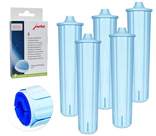 5 Filterpatrone kompatibel mit JURA CLARIS BLUE Filterpatronen für IMPRESSA ENA GIGA + Jura 62715 2-Phasen Reinigungstabletten