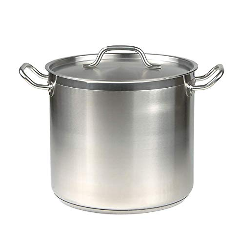 40 Qt Stainless Steel Stock Pot w/Cover (Renewed)