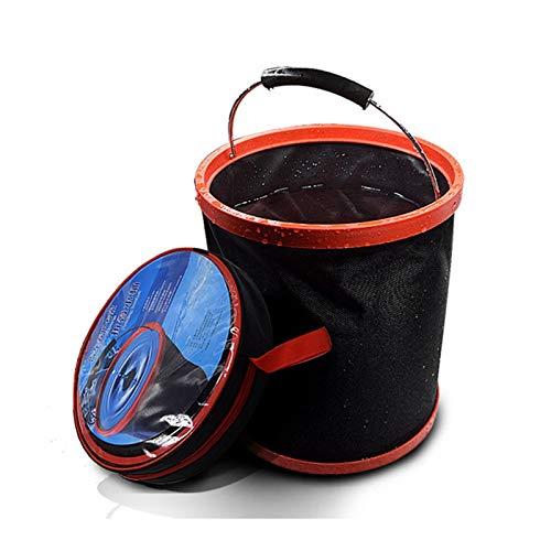 12L Cubo plegable de gran capacidad para acampar al aire libre Cubo plegable Cubo plegable Herramientas de limpieza de automóviles Pesca portátil Cubos de almacenamiento de pesca ( Color : Black )