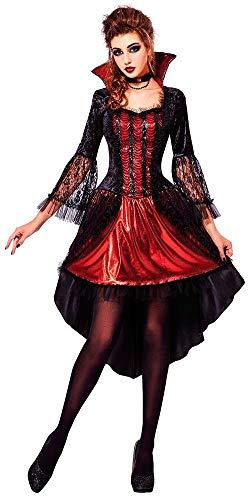 shoperama Sexy Vampiress Damen-Kostüm Vampirin Vampir Lady Halloween Kleid und Halsband, Größe:L