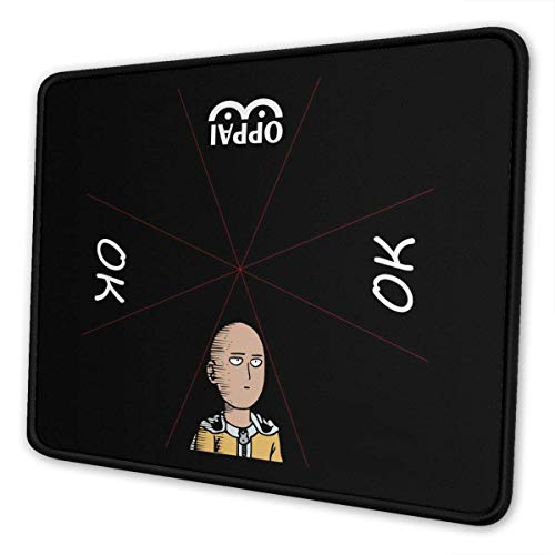Funny Saitama Oppai Mouse Pad Non-Slip Gaming Mouse Pad with Stitched Edge Computer PC Mousepad Neoprene Base for Office Home-10x12In