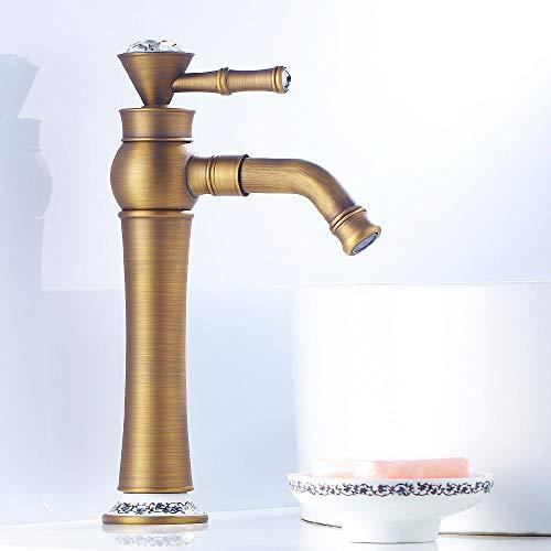 LOSYU Einhebel-Waschtisch im Bad Wasserhahn, Vintage antiken Kupfer-Hahn-Hoch-Wannen-Hähnen Moderne Küchenarmatur mit warmem und kaltem Mischer-Hahn-Keramik Ventileinsatz