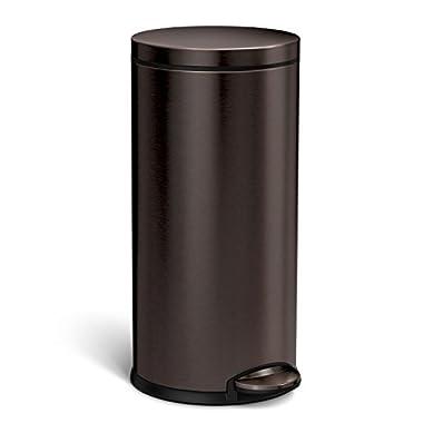 simplehuman CW2046 Round Step Trash Can, 35 Liter (9 Gallon), Dark Bronze Stainless Steel
