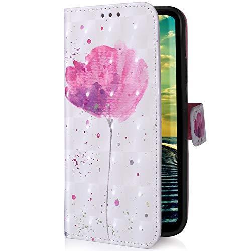Uposao Kompatibel mit Samsung Galaxy M30S Handyhülle Glitzer Bling 3D Bunt Leder Hülle Flip Schutzhülle Handytasche Brieftasche Wallet Bookstyle Case Magnet Ständer Kartenfach,Rosa Blumen