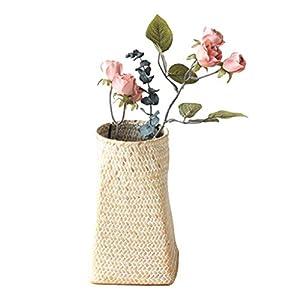 折り畳み式の籐フラワーバスケット、小海草ストレージバスケットホームデコレーションバスケット、リビングルームのベッドルームのための庭のフラワーポット花瓶ラタン,白