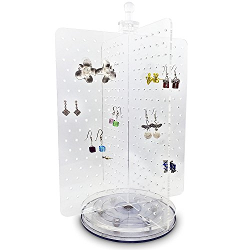 Ikee Design Acrylic Rotating Earring Organizer, Spinning Jewelry Organizer Display Stand, Earring Stand Fits 216 Pairs Earrings, Jewelry Board for Salon, Store and Home Decor, 8'W x 8'D x 11 3/8'H