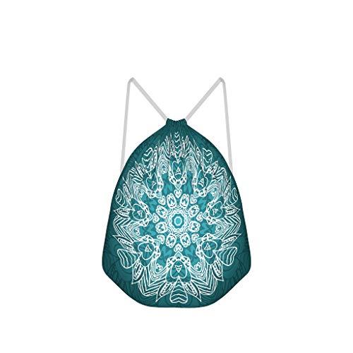O2ECH-8 Dark Cyan Mandala Trekkoord tas vrijetijdstas polyester sporttassen wandelen voor meisjes 41 x 34 cm Eén maat wit
