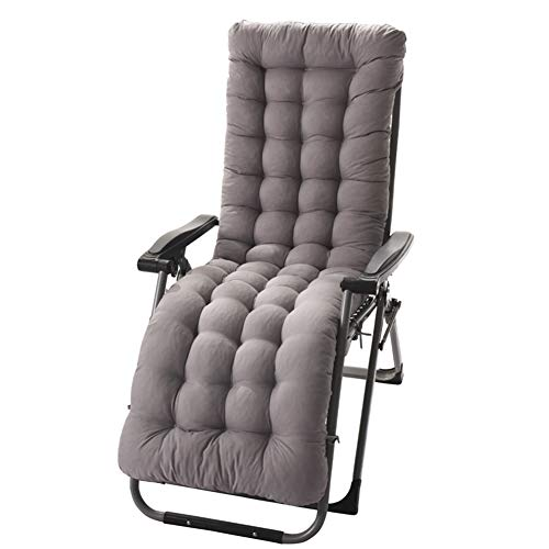 Sun Lounger Cushions, Garden Furniture Cushions - Portable Garden Patio Thick Padded Bed Recliner Relaxer Chair Seat Cover for Travel/Holiday/Indoor/Outdoor ,gray,155X48X8
