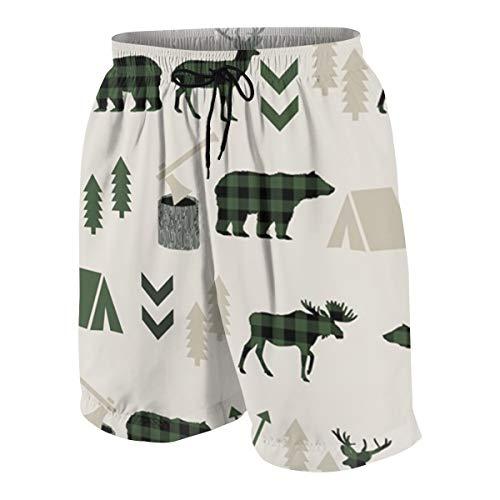 Herren Badeshorts Buffalo Plaid Elch Camping Bär Sommer Surfen Strand Shorts Hose schnell trocknend mit Taschen Gr. S 7-9, mehrfarbig
