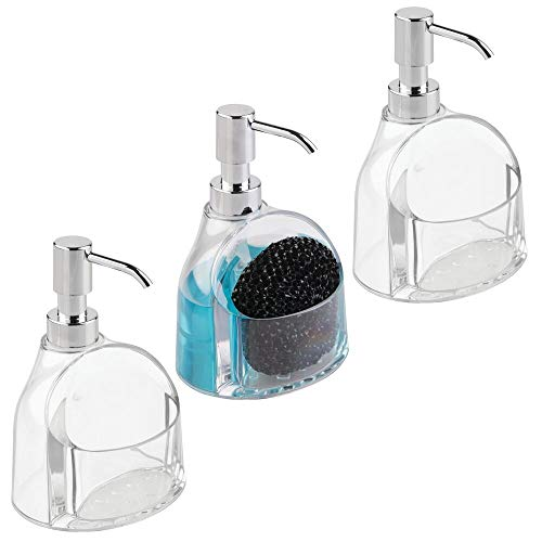 mDesign Juego de 3 dosificadores de jabón recargables – Modernos dispensadores de jabón con válvula dosificadora y portaestropajos – Dosificador de cocina en plástico – transparente/plateado